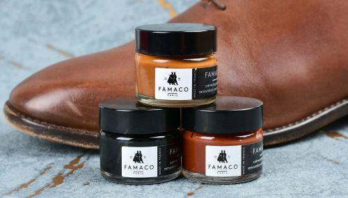 barvící krém na boty, kůži a podrážky